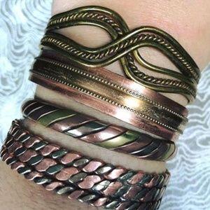 Jewelry - Bundle of Vintage BOHO Earthy Copper Bracelets!